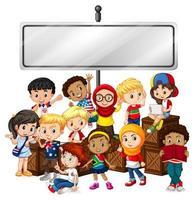 conception de modèle de signe de bannière avec des enfants heureux vecteur