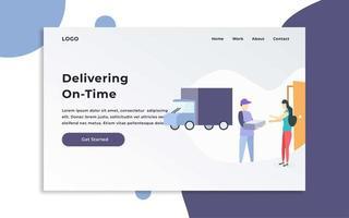 page de destination du service de livraison à temps