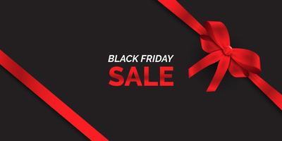 bannière de vente vendredi noir avec ruban rouge