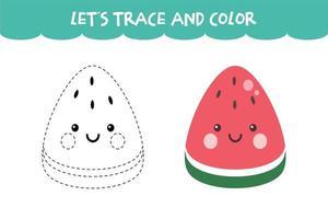 tracez et coloriez la feuille de travail éducative de la pastèque mignonne vecteur