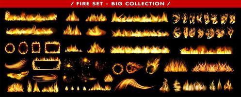 ensemble d'effet de flamme vecteur