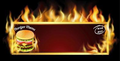 publicité de menu burger cadre enflammé