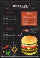 modèle de style de craie de menu burger vecteur