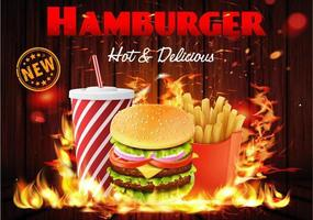 affiche combo burger enflammé sur bois vecteur