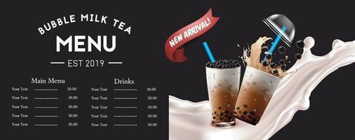 conception de menu horizontal propre de thé à bulles vecteur