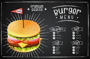 menu de restauration rapide design burger style craie vecteur