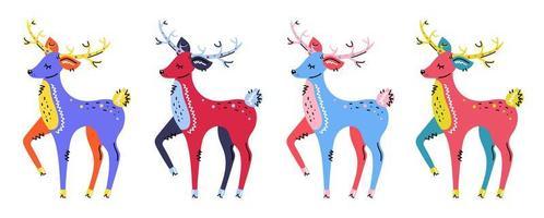 ensemble de cerfs colorés dessinés à la main vecteur
