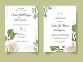 carte d & # 39; invitation de mariage avec des roses et des feuilles