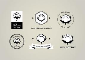 Logo de fleur de coton plat six vecteur