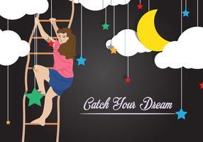 Girl Attraper des rêves avec une échelle de corde vecteur