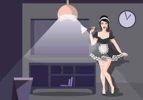 Vignette de la programmation de nuit de la femme de ménage vecteur