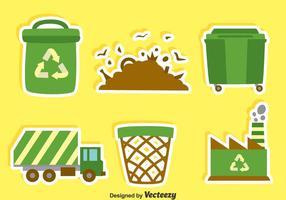 Vecteur plat d'éléments d'ordure