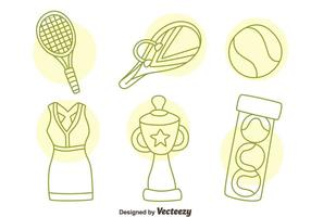 Vecteur d'icônes de tennis dessiné à la main