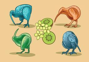 Image vectorielle de Nice Kiwi Birds and Kiwi Fruits