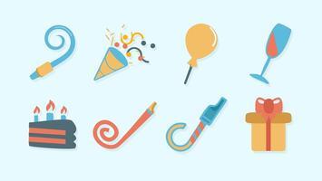 Vecteur d'icônes d'anniversaire gratuit