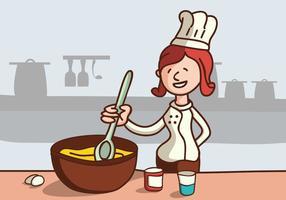 Chef mélange de gâteau vecteur