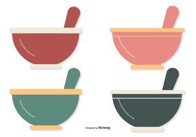 Bols de mélange de style plat vecteur