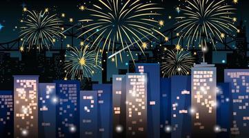 paysage urbain avec une belle scène de feux d'artifice de célébration vecteur