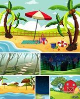 six scènes différentes dans la nature