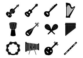 Gratuit, silhouette, musique, Insrument, icônes, vecteur