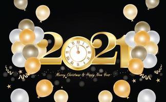 bonne année 2021 design avec horloge en or et ballons vecteur