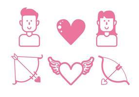 Ensemble d'icônes d'amour vecteur