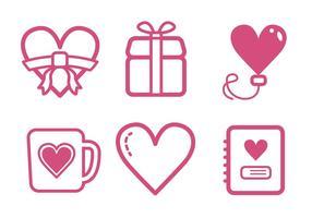 Ensemble d'icônes de valentine vecteur