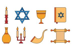 Ensemble d'icônes de Shabbat vecteur