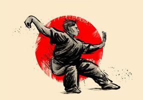 Wushu pose vecteur