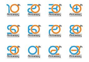 Vector Set of Anniversary Number