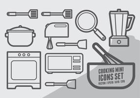 Mini jeu d'icônes de cuisine vecteur