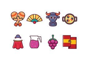 Ensemble d'icônes d'Espagne gratuit vecteur