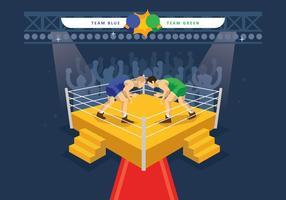 Illustration libre de l'anneau de lutte