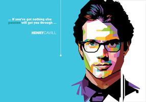 Henry cavill - vie de super-héros - popart portrait vecteur