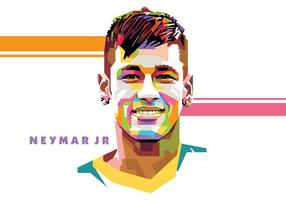 Neymar - vie de football - popart portrait vecteur