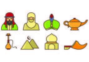 Ensemble d'icônes du sultan vecteur
