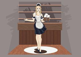 Illustration vectorielle de Woman in Classic Maid Dress Costume