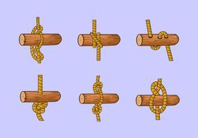 Échelle de corde nœud bois stock de vecteur