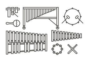 Icônes de musique Marimba vecteur