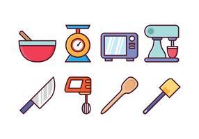 Ensemble d'icônes de cuisine gratuit vecteur