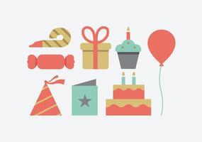 Icônes de fête d'anniversaire vecteur