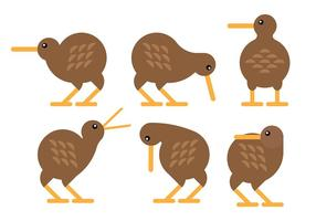 Vecteur d'icônes d'oiseaux kiwi gratuit