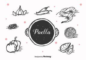 Vecteur de paella dessiné à la main