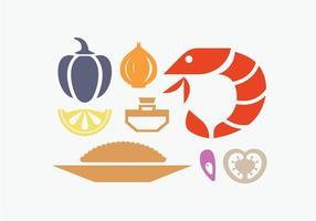 Ingrédient de paella espagnol vecteur