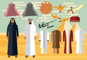 Vêtements et accessoires pour hommes arabes vecteur