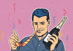 Fête célébrée avec Party Blower vecteur