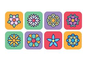 Ensemble d'icônes de fleurs en fond carré arrondi vecteur