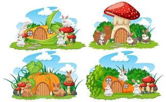 ensemble de maisons de fantaisie végétale dans le jardin vecteur