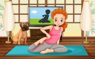 fille et pratique du yoga