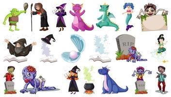 ensemble de personnages de dessins animés fantastiques et thème fantastique isolé vecteur